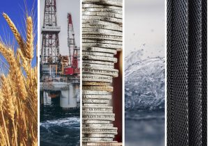 Commodities - wheat, oil, coins, water, metal